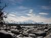 Blick auf den Mount McKinley vom Fluss aus ...