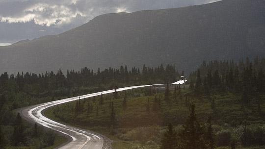 Die einzig befahrbare Straße in den Denali National Park