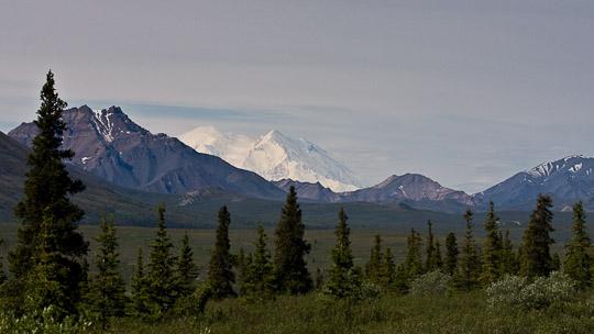 Erste Blicke auf die Alaska Range und dem Denali ...