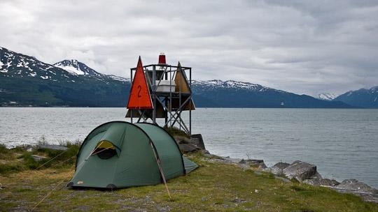 Port Valdez - Zelten mit Ausblick auf die Columbia Bay